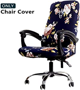 WOMACO Printed Office Chair Covers, Stretch Computer Chair Cover Universal Boss Chair Covers Modern Simplism Style High Back Chair Slipcover - Peony, Large