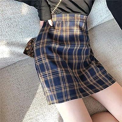 HSDFKD Faldas A Cuadros Escolares Mujeres Verano Moda Coreana A ...