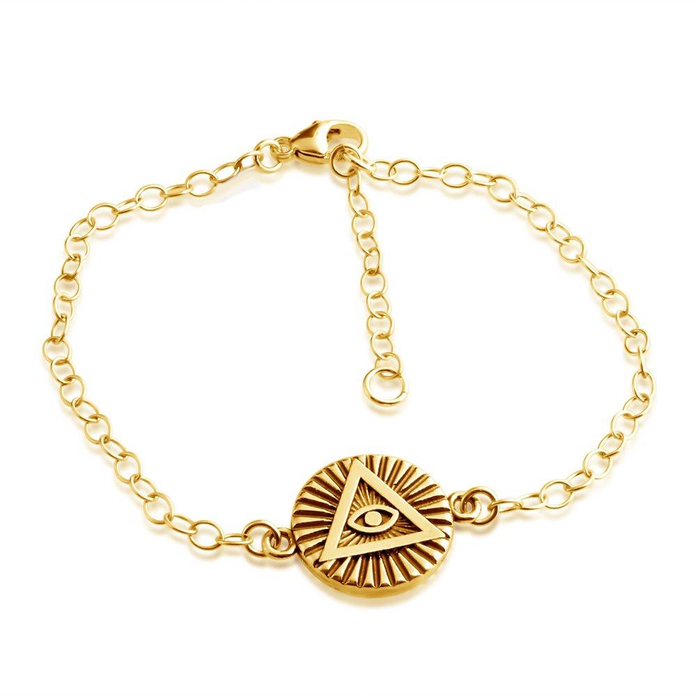 Azaggi Illuminati All Seeing Eye of Providence Pendant Bracelet 14k Gold Plating Over Sterling Silver Jewelry Gift