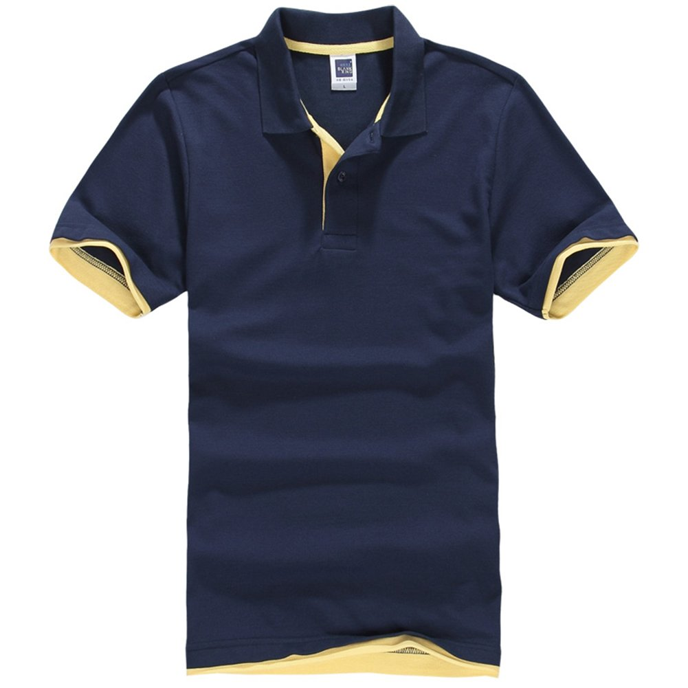 NEWCOSPLAY Men's Short-Sleeve Double Color Collars Polo Shirt (XL, Navy Blue-Yellow)