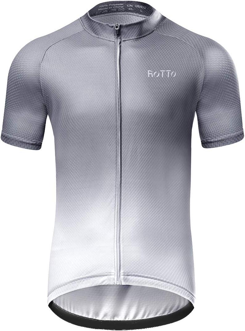ROTTO Maillot Ciclismo Hombre Camiseta Ciclismo Manga Corta Ropa Ciclista para Bicicleta de monta/ña con Bolsillo