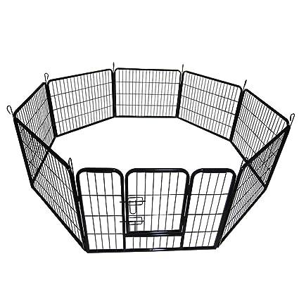 Amazon.com: Tenflyer Pet Dog Fence Foldable Metal Pet Dog ...