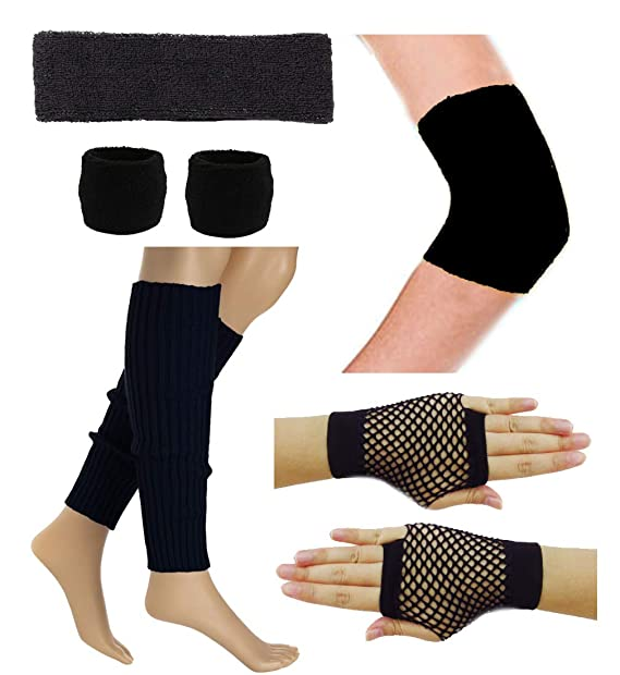 082ba7325edb 80 s Retro Running Yoga Sport Headband Wristband Leg Warmers Elbow Guard  Set (Black)