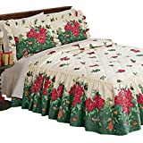 Collections Etc Deck The Halls Poinsettia Christmas Bedspread, Full