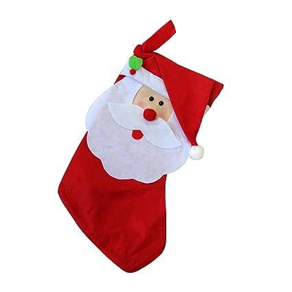 Nueva Navidad Papá Noel calcetines de calcetín de cabeza saco bolsa de regalo relleno tratar presente