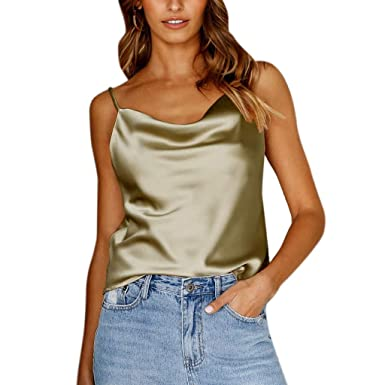a21917ca2a696 HIKO23 Sexy Women s Silk Tank Top Ladies Camisole Silky Loose Sleeveless V  Neck Strappy Blouse Tank