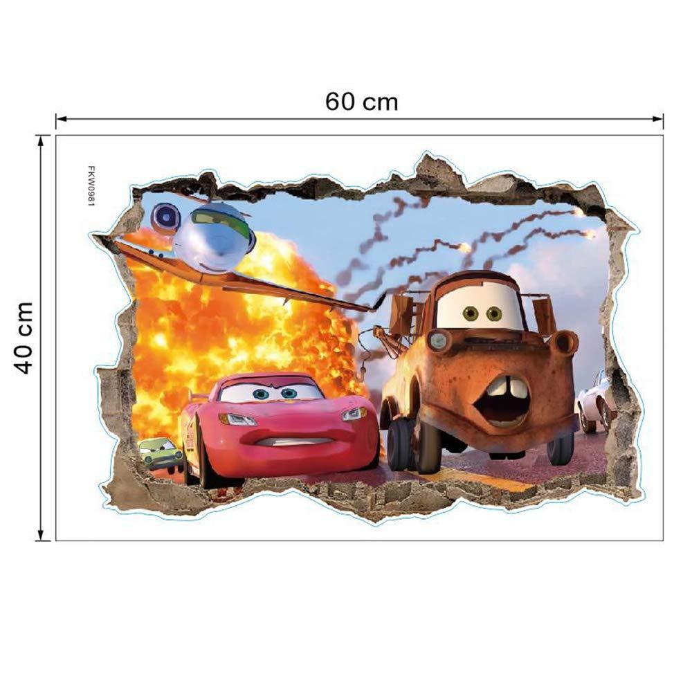 ufengke 3D Cars Wall Stickers Removalble Break Through The Wall Vinyl Murals for Children Bedroom Living Room