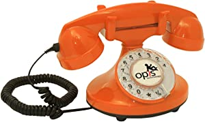 OPIS FunkyFon Cable: Rotary dial disc Telephone in The sinuous Style of The 1920s with Modern Electronic Bell (Orange)