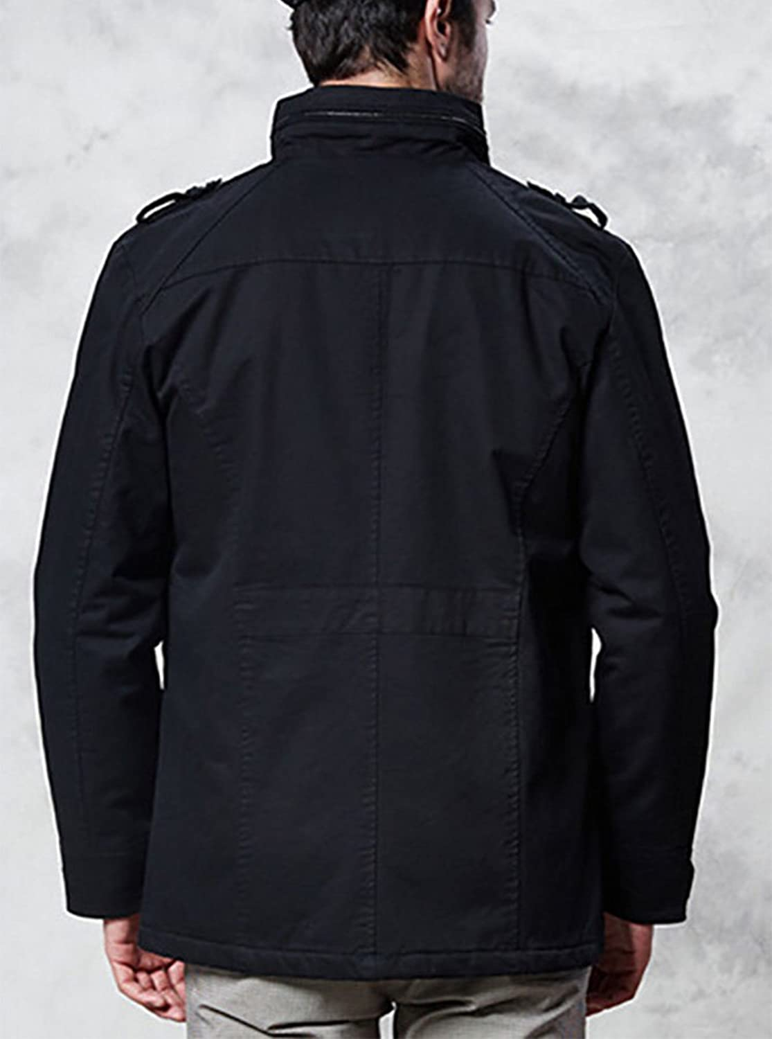 Baymate Men's Casual Thicken Jacket Long Sleeve Trench Coat Outwear