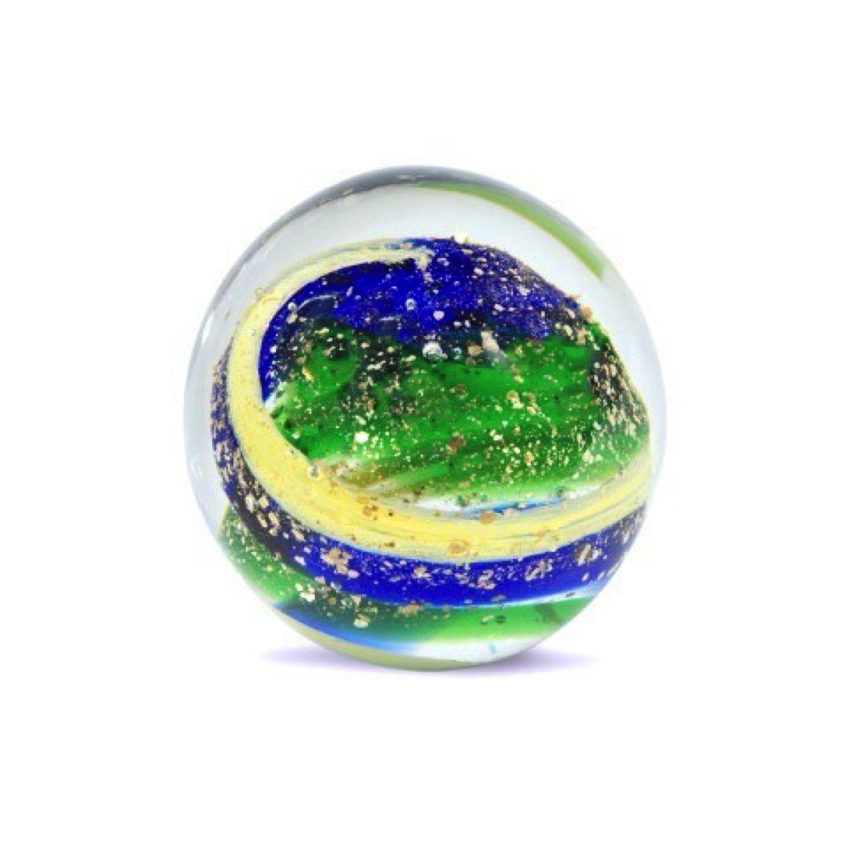 Art Deco Home - Fermacarte / palla di vetro, blu/verde/color oro, 10 cm - 12524SG