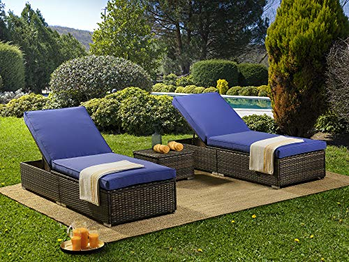 PONLCY HOME Adjustable Outdoor 3Pcs Patio Chaise Lounge Set, PE Brown Rattan Wicker Recliners with Blue Cushion-2 Pcs Chaise Lounge and 1 Pcs Table