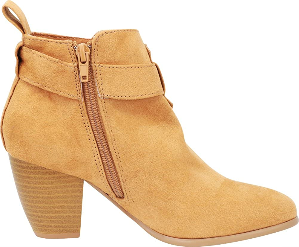 Cambridge Select Womens Closed Toe Buckled Crossover Strap Chunky Stacked Block Heel Ankle Bootie