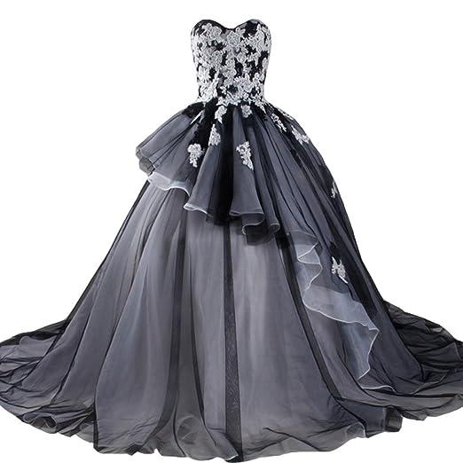 Kivary Long White And Black Gothic Lace Beaded Corset Bridal Wedding