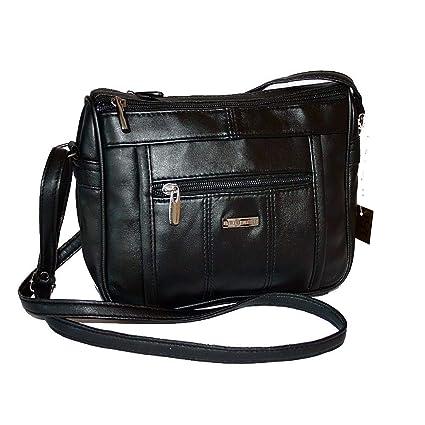 7060d9f668 Bag Street Kleine Lambskin Sac à main en cuir pour femme Noir 23 x 18 cm