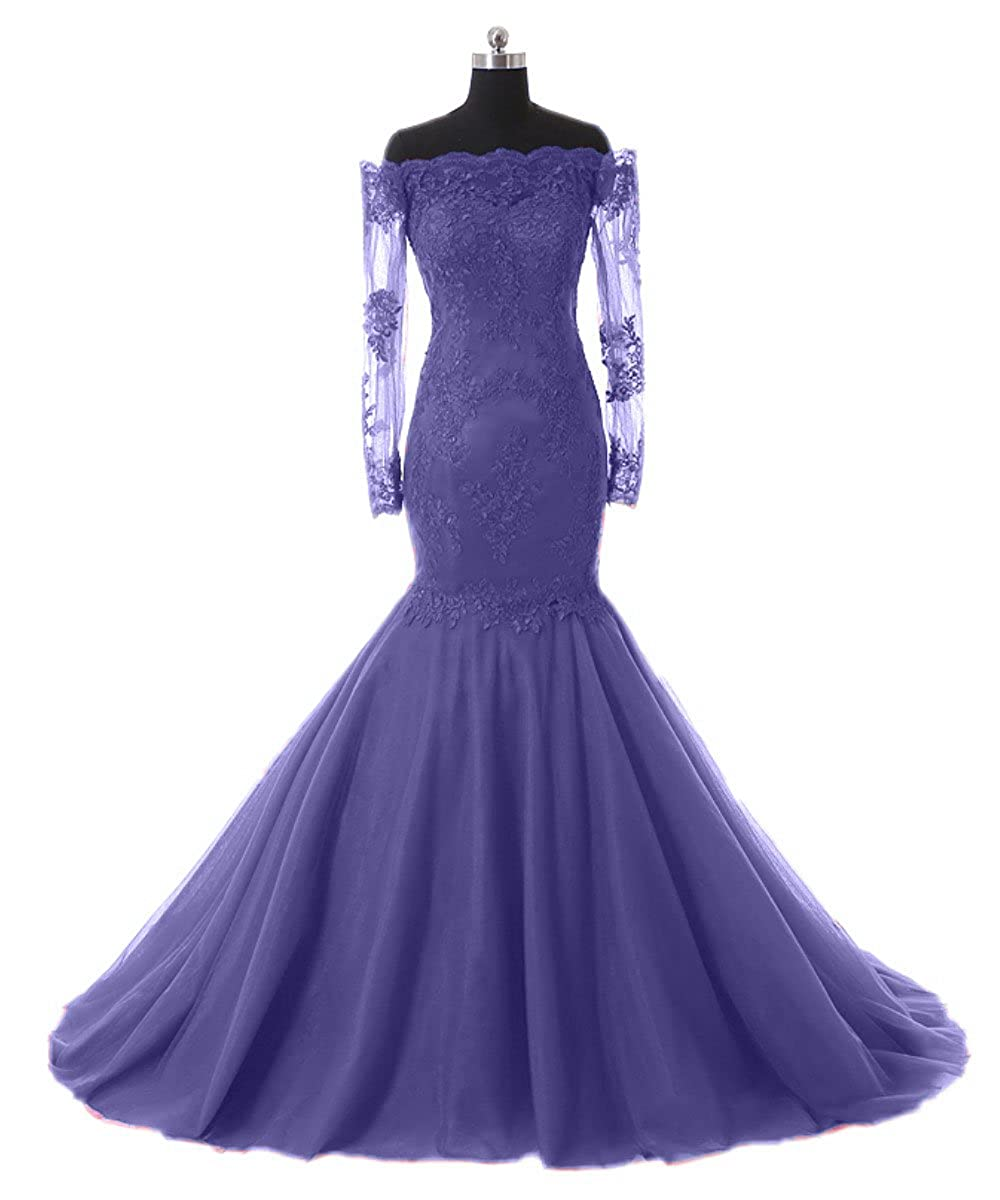 Lavender Promworld Women's Off The Shoulder Evening Dress with Sleeves Lace Mermaid Prom Formal Dresses