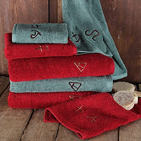 Embroidered Brands Western Towel Set, Red Rod' s