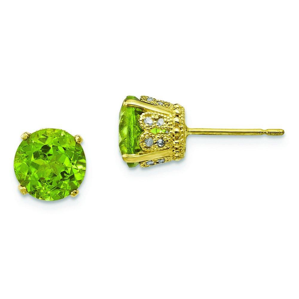 6.9mm 10k Tiara Collection Polished Diamond Peridot Post Earrings