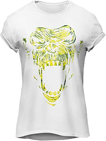 Monkey Face Yellow-Cool Graphic T-Shirt, Premium Cotton by ZEZIGN