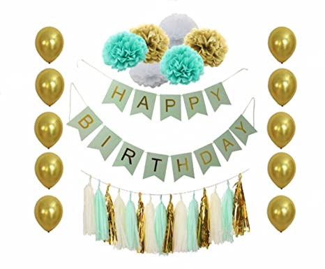 BD Party Mint Green And Gold Birthday Decorations With Happy Banner Tissue Pom Poms