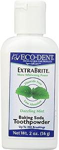 Eco-Dent Extra Brite Baking Soda Toothpowder, Dazzling Mint 2 oz