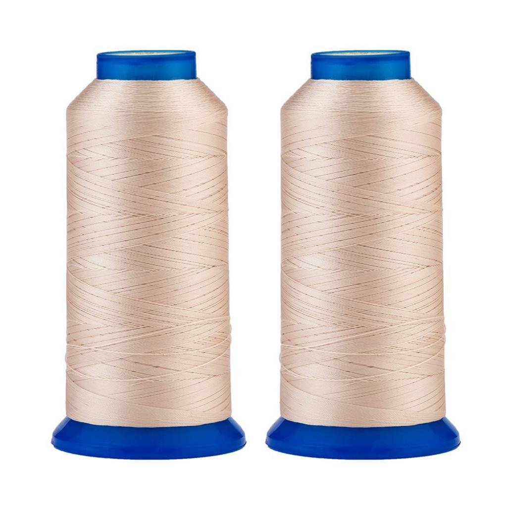 Selric [3000Yards/Beige] Pack of 2 UV resistant High Strength Polyester Thread #69 T70 Size 210D/3 for Upholstery, Outdoor Market, Drapery, Beading, Purses, Leather