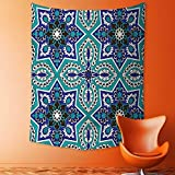 aolankaili Mandala Tapestry Celestial Wall Decor Arabesque Pattern Traditional Islamic Art Geometric Decorative Persian Damask Art Cobal Dorm Hanging Hippy Tapestry