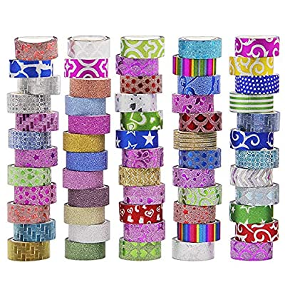 ATDAWN 60 Rolls Washi Tape Set, Masking Washi Tape, Decorative Craft Tape Collection for DIY Crafts and Gift Wrapping from ATDAWN
