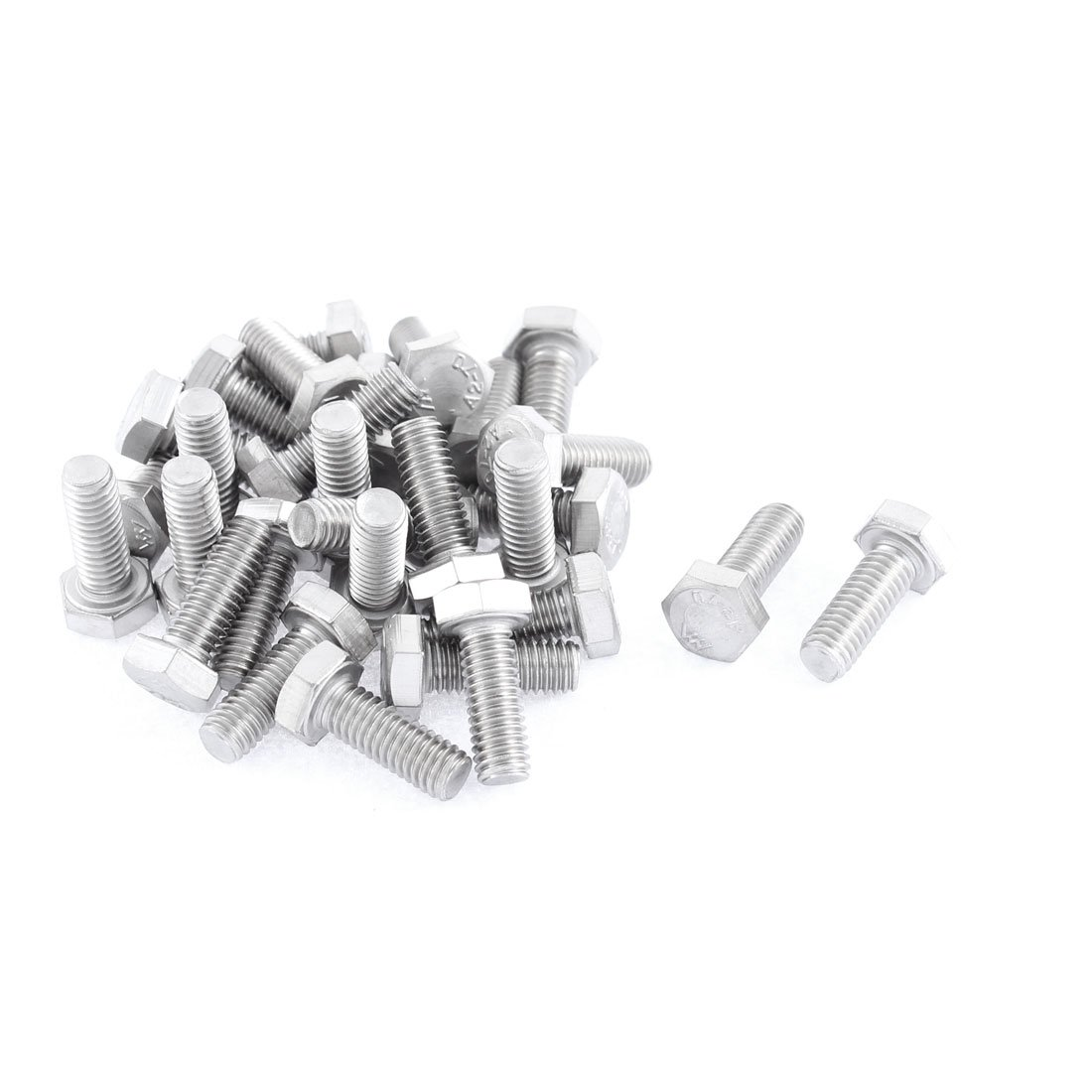 uxcell M6 x 16mm Fully Threaded Stainless Steel Hex Head Screw Bolt 30 Pcs