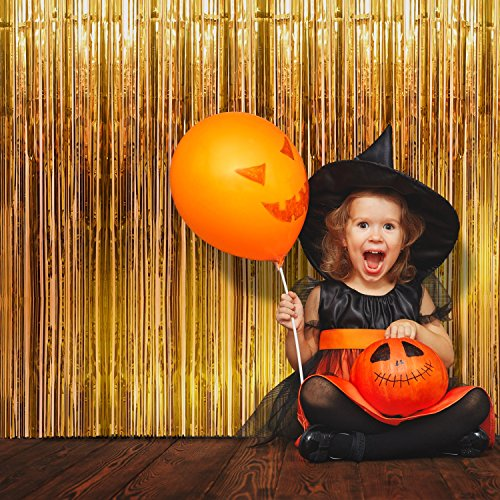Game Booth Ideas For Halloween (Foil Fringe Curtain (SET of 2) Stunning Gold Backdrop - Perfect Photo Booth Props - Fun Tinsel Curtains for Halloween, Bachelorette Party, Birthday Decorations, Graduation, Christmas & New Years)