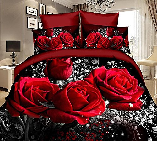 3d Bedding Sets Home Textile Hot Red Rose Pattern 4pcs Queen Size Bedding Sets