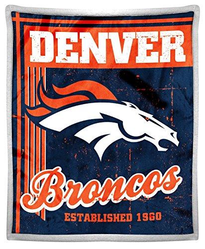 Northwest Denver Broncos Soft Blanket - Northwest Officially Licensed NFL Denver Broncos Old School Mink Sherpa Throw Blanket, 50