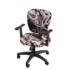 Jinzio Computer Office Chair Cover - Split Protective & Stretchable Cloth Polyester Universal Desk Task Chair Chair Covers Stretch Rotating Chair Slipcover, Style 06
