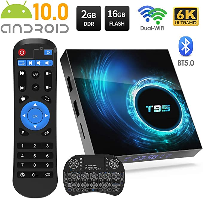 Sidiwen Android 10.0 TV Box T95 Android Box 2GB RAM 16 ROM Allwinner H616 Quad-Core Dual WiFi 2.4G/5G Ethernet Bluetooth 5 Support 3D 6K Ultra HD Smart TV Media Box with Mini