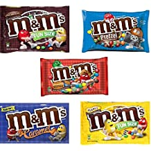 M&M Fun Size Candy Variety Pack - Plain, Peanut, Pretzel and Caramel (3 Pound)