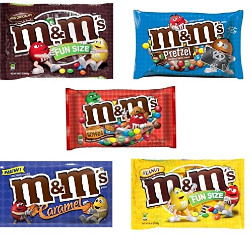 M&M Fun Size Candy Variety Pack - Plain, Peanut, Pretzel, Peanut Butter and New Caramel (5 Pound) (Cheap As Chips Halloween)
