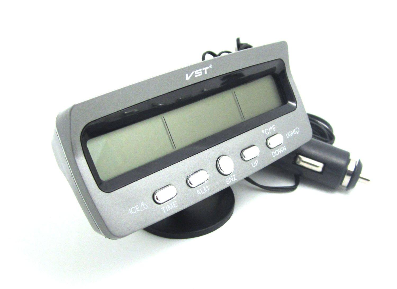 WINGONEER LCD Auto Digital Innen Au/ß en Thermometer Spannungstester Voltmeter Spannungsmesser KFZ PKW Datum Uhr Alarm