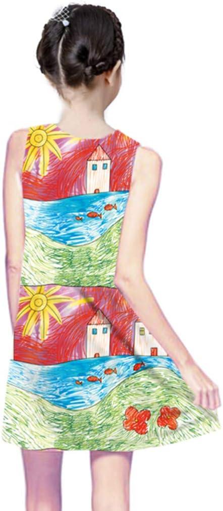 M/ädchen Kleid m/ädchen Kleider festlich Blumen Kleid A Linie Retro Gedruckt Schlittschuhl/äufer Kleider O-Ausschnitt Kurze /Ärmel Fr/ühling Sommer Kleid