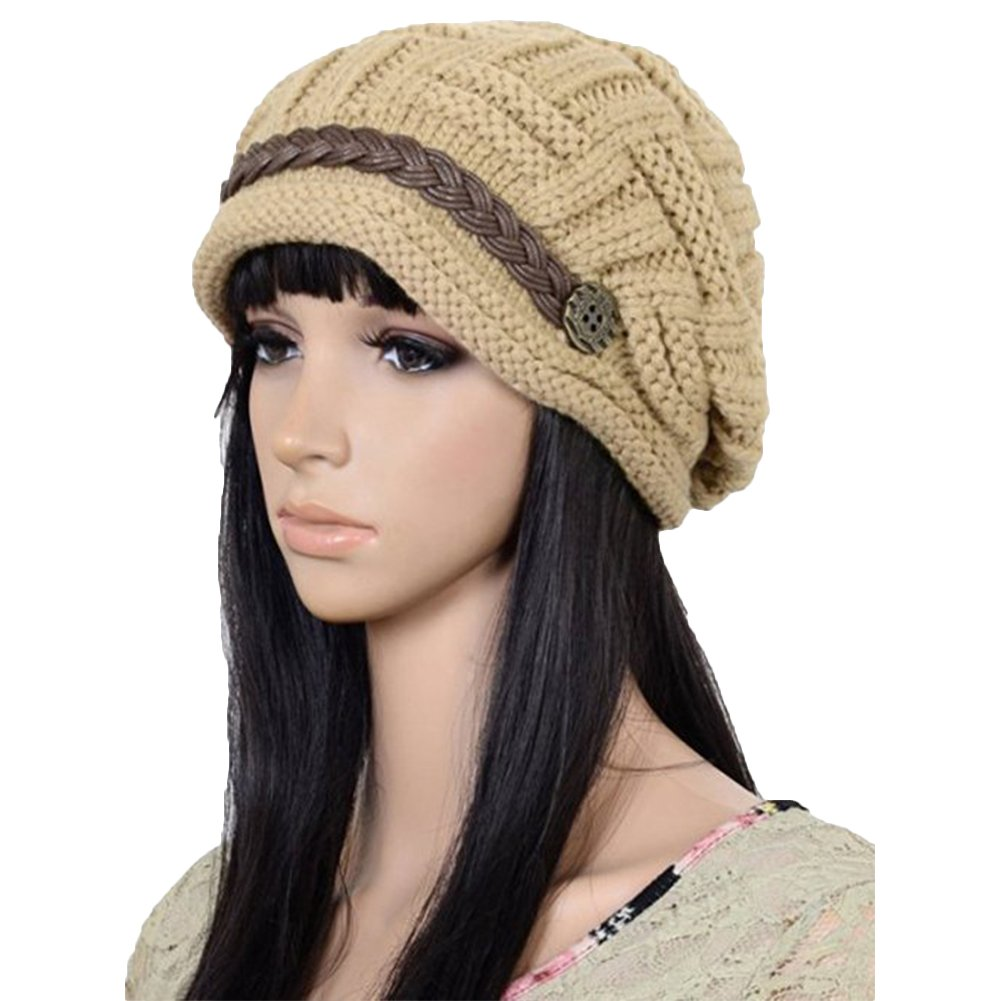 DAYNECETY Women Hat Winter Bonnet Hat Warm Knitted Hat Berets