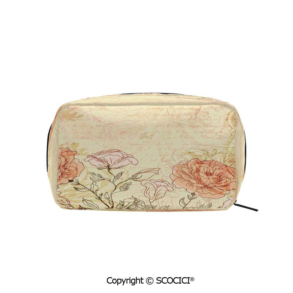Travel Cosmetic Bag Portable Makeup Pouch Double Exposure Background Roses and Lettering Love Words Once Upon A Time Theme makeup clutch for Girls Ladies Women