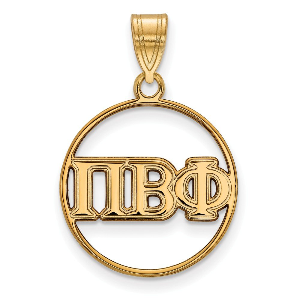 18mm x 27mm Solid 925 Sterling Silver with Gold-Toned Pi Beta Phi Small Circle Pendant