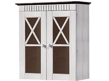 Loft24 Badezimmer Hängeschrank Wandschrank Oberschrank Badschrank Badmöbel  2 Glastüren weiß Dunkelbraun Kiefer Massivholz Landhaus