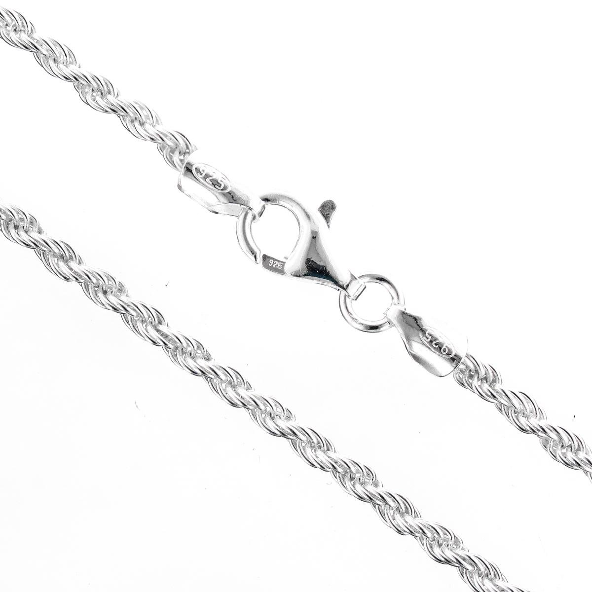 925 Sterling Silver 1.9mm Rope Italian Chain Necklace With Free Anti-Tarnish Storage Capsule
