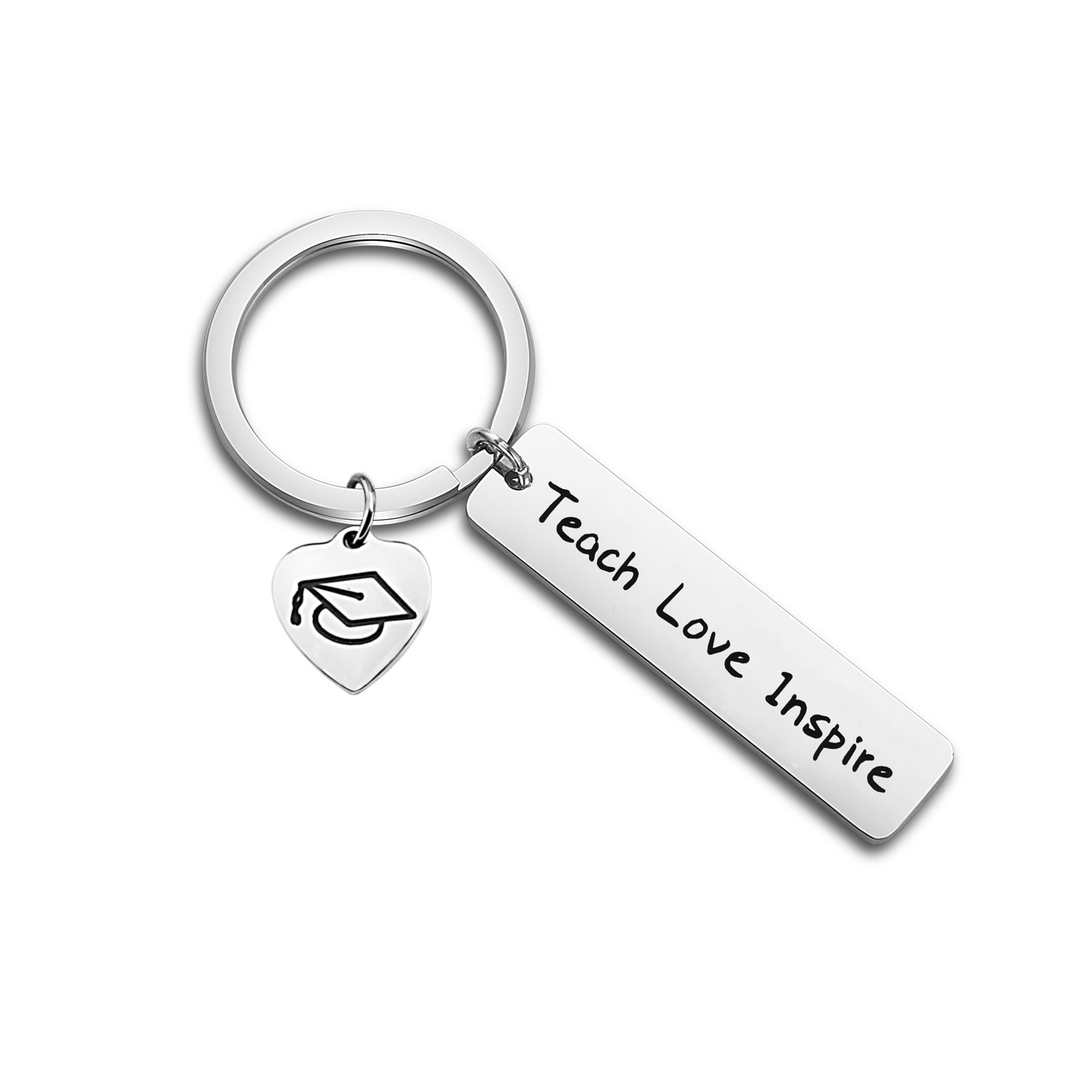 ENSIANTH Teacher Gift Teach Love Inspire Keychain Teacher Appreciation Jewelry Heart Pendant Keychain (Teach Love Inspire Keychain)