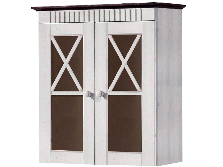 Loft24 Badezimmer Hängeschrank Wandschrank Oberschrank Oberschrank Oberschrank Badschrank Badmöbel 2 Glastüren Kiefer Massivholz Landhaus gebeizt geölt 1f4522