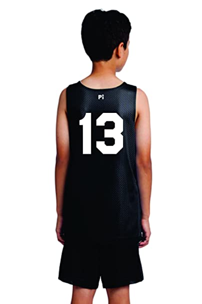 f2110d365 Players Inc Youth Basketball Custom Numbered Reversible Mesh Uniform Top  Black-White