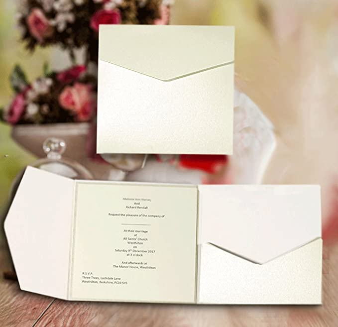 10 Pale Silver Pearlescent Pocketfold Invites 130mmx185mm