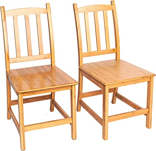 2pcs Sturdy Bamboo Dining Chairs Wood Color Dining Chair Kitchen Chairs Modern Dining Room