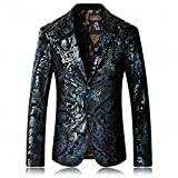 WEEN CHARM Men's Designer Floral Printed Single Breasted Two Button Modern Fit Tux Blazer Jacket Coat