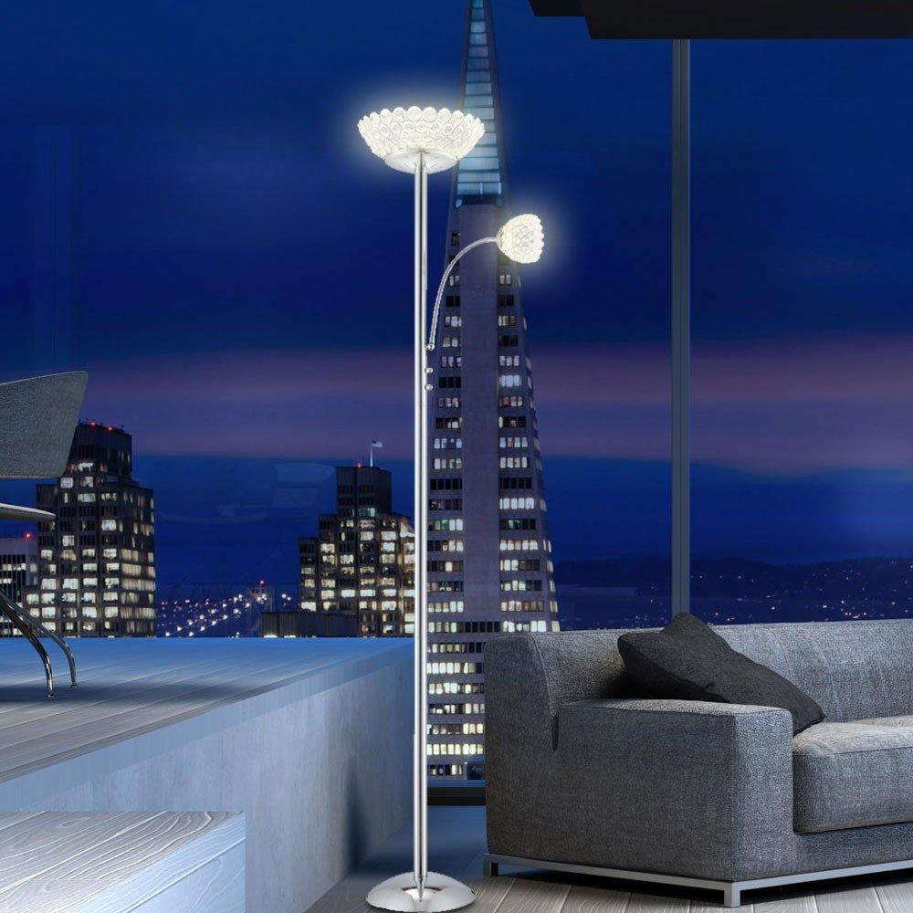 LED Deckenfluter Stehlampe 35 Watt Licht Chrom klare Acrylkristalle ...