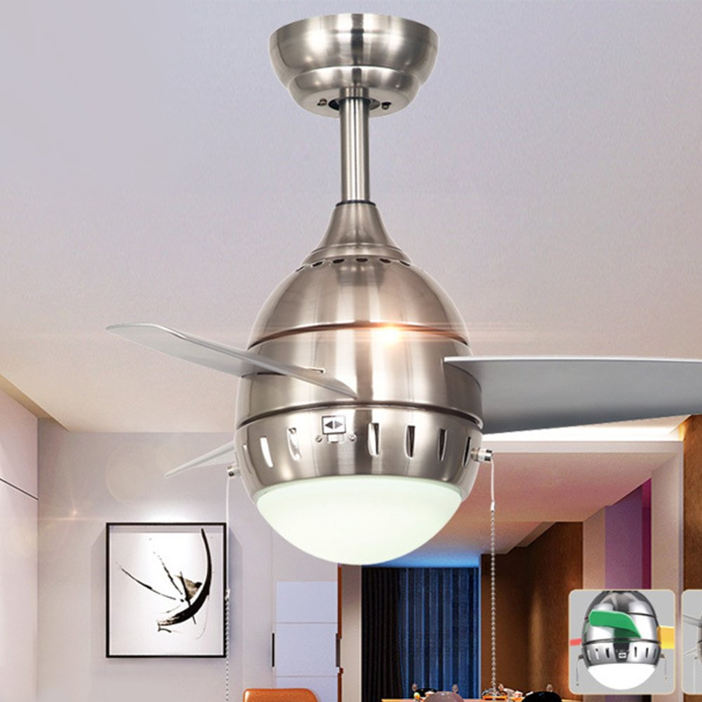 RainierLight Modern Kids Ceiling Fan for Children's Room/Bedroom/Kindergarten Remote Control 3 Blades Mute Electricity 26-inch LED Light(Colorful) (Silver)